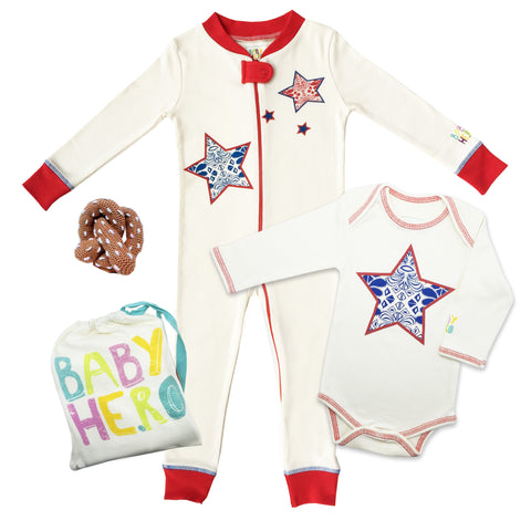 I Heart NYC 3-Piece Gift Set - Onesie/Footie/Toy - 100% Organic Cotton - Baby Hero - 1