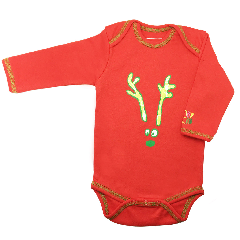 baby christmas outfit holiday reindeer onesie red 100 organic cotton baby hero