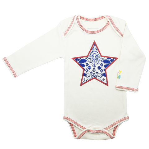 Fly High Gift Set - Star Onesie + Organic Plane Rattle