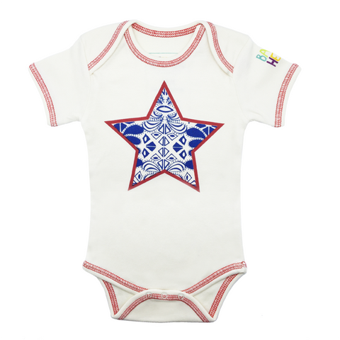 Star Onesie - Short-Sleeve, 100% Organic Cotton - Baby Hero - 1