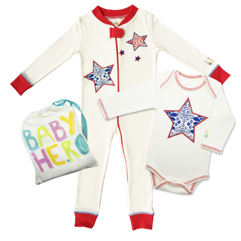 Super Star Onesie/Footie Gift Set  - 100% Organic Cotton - Baby Hero - 1