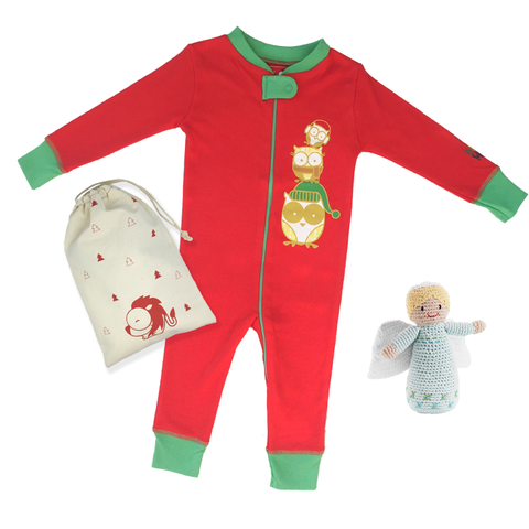 Holiday Owl Footie + Angel Rattle Gift Set - Baby Hero - 1