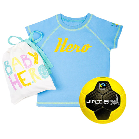 Jinta Football & Tee Gift Set - Blue - 100% Organic Cotton, Fair-Trade - Baby Hero - 1