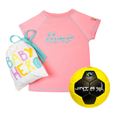 Jinta Football & Tee Gift Set - Pink - 100% Organic Cotton, Fair-Trade - Baby Hero - 1