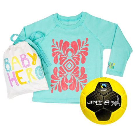 Jinta Football & Tee Gift Set - Turquoise - 100% Organic Cotton, Fair-Trade - Baby Hero - 1