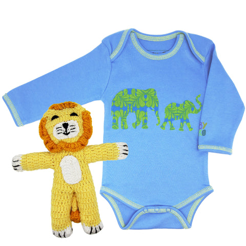 Sweet Safari Onesie/Toy Gift Set - Blue - 100% Organic Cotton, Fair-Trade - Baby Hero - 1