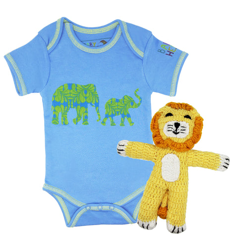 Sweet Safari Onesie/Toy Gift Set - Blue - 100% Organic Cotton, Fair-Trade - Baby Hero - 2
