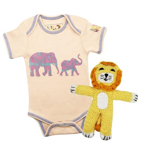 Sweet Safari Onesie/Toy Gift Set - Peach - 100% Organic Cotton, Fair-Trade - Baby Hero - 2