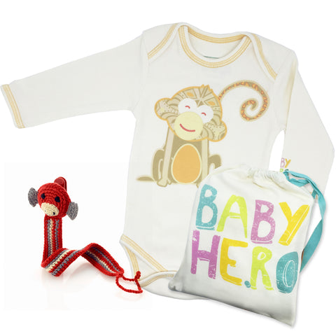 Year of the Monkey Gift Set - Turquoise, 100% Organic Cotton - Baby Hero - 6