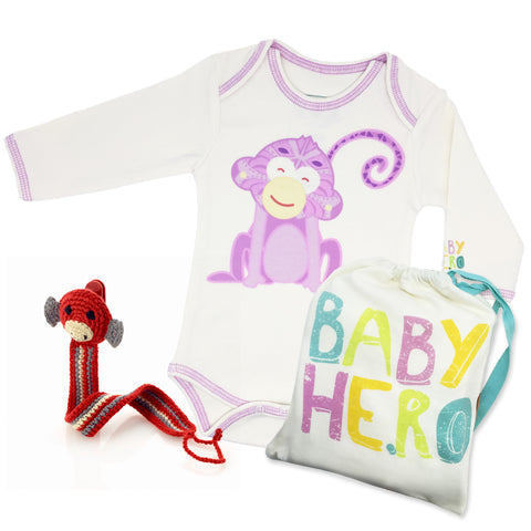 Year of the Monkey Gift Set - Pink, 100% Organic Cotton - Baby Hero - 1