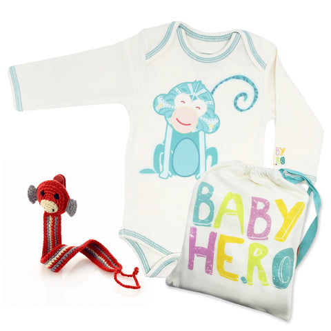 Year of the Monkey Gift Set - Turquoise, 100% Organic Cotton - Baby Hero - 1