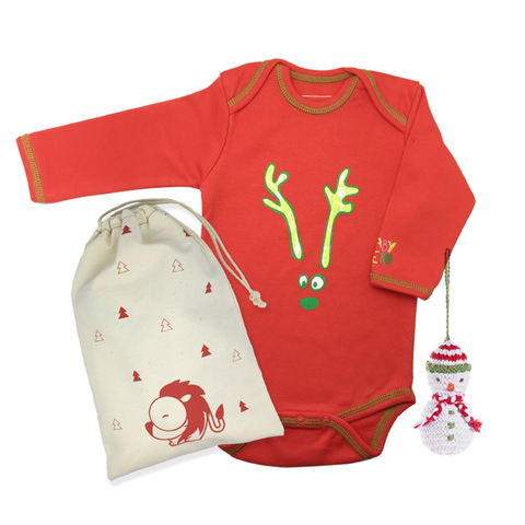 Holiday Reindeer Onesie & Ornament Gift Set - Baby Hero - 1