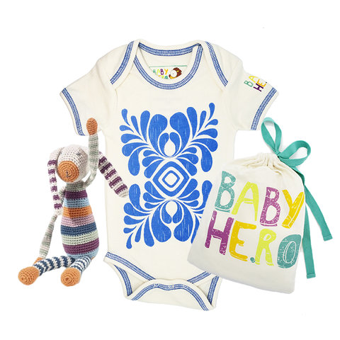 Bunny Toy/Onesie Gift Set - 100% Organic Cotton, Fair-Trade - Baby Hero - 2