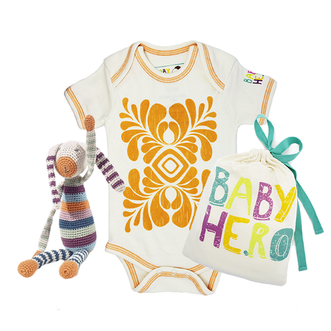 Bunny Toy/Onesie Gift Set - 100% Organic Cotton, Fair-Trade - Baby Hero - 3