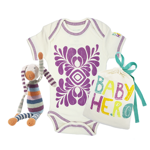 Bunny Toy/Onesie Gift Set - 100% Organic Cotton, Fair-Trade - Baby Hero - 1