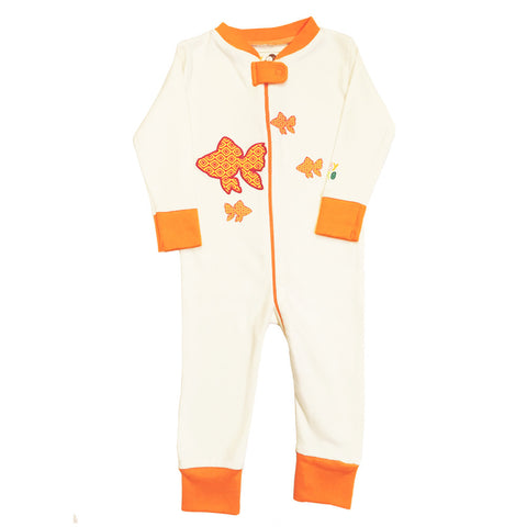 Fish Footie - Orange, 100% Organic Cotton - Baby Hero - 1