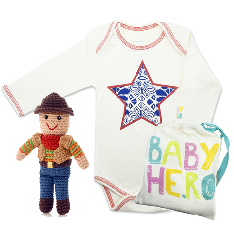 Texas Baby Gift Set - Onesie/Toy - 100% Organic Cotton - Baby Hero - 1
