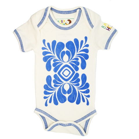 Indus Onesie - Blue - Short-Sleeve, 100% Organic Cotton