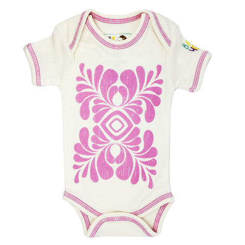 Indus Onesie - Pink - Short-Sleeve, 100% Organic Cotton - Baby Hero - 1