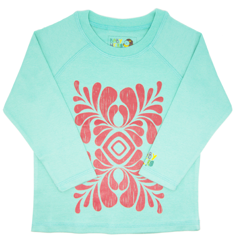 Indus Tee - Turquoise - Long-Sleeve, 100% Organic Cotton - Baby Hero - 1