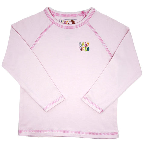 Laila Tee - Pink - Long-Sleeve, 100% Organic Cotton - Baby Hero - 1