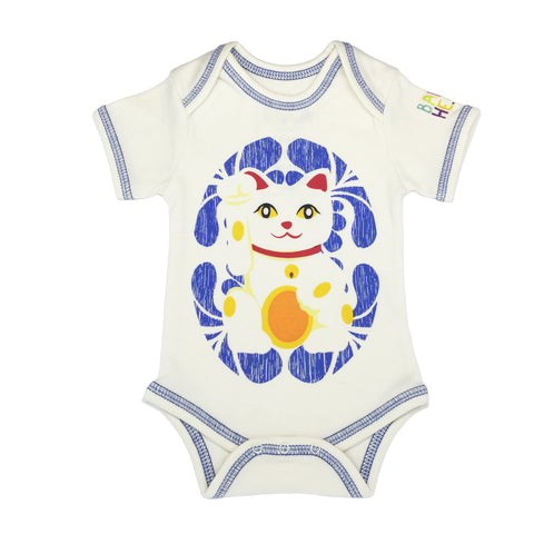 Lucky Cat Onesie - Blue - Short-Sleeve, 100% Organic Cotton - Baby Hero - 1