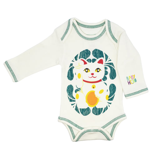 Lucky Cat Onesie - Teal - Long-Sleeve, 100% Organic Cotton - Baby Hero - 1