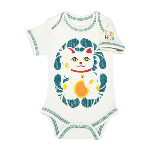 Lucky Cat Onesie - Teal - Short-Sleeve, 100% Organic Cotton - Baby Hero - 1