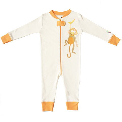 Monkey Footie - Orange, 100% Organic Cotton - Baby Hero - 1