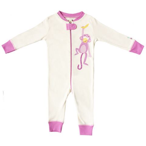 Monkey Footie - Pink, 100% Organic Cotton - Baby Hero - 1