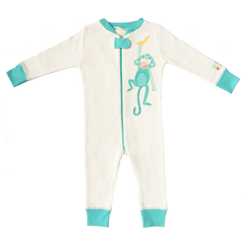 Monkey Footie - Turquoise, 100% Organic Cotton - Baby Hero - 1