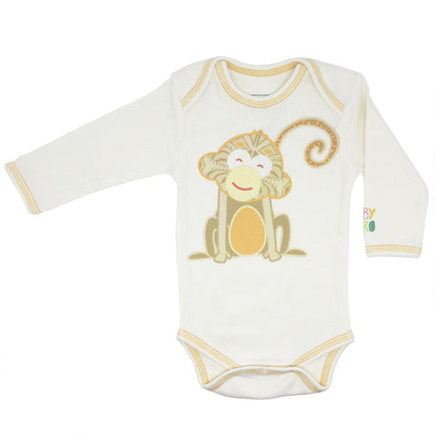 Year of the Monkey Orange Onesie - Long-Sleeve, 100% Organic Cotton - Baby Hero - 1