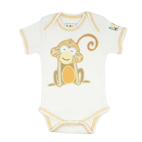 Year of the Monkey Orange Onesie - Short-Sleeve, 100% Organic Cotton - Baby Hero - 1