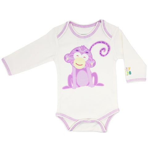 Year of the Monkey Pink Onesie - Long-Sleeve, 100% Organic Cotton - Baby Hero - 1