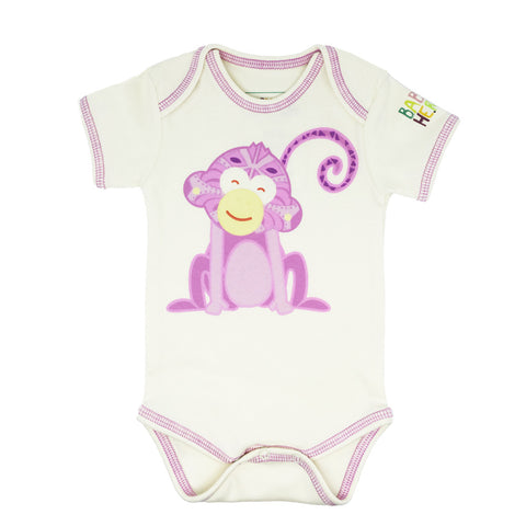 Year of the Monkey Pink Onesie - Short-Sleeve, 100% Organic Cotton - Baby Hero - 1