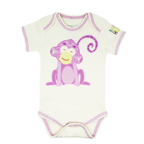 Monkey Onesie - Pink, Long-Sleeve