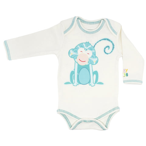 Monkey Onesie - Turquoise, Short-Sleeve