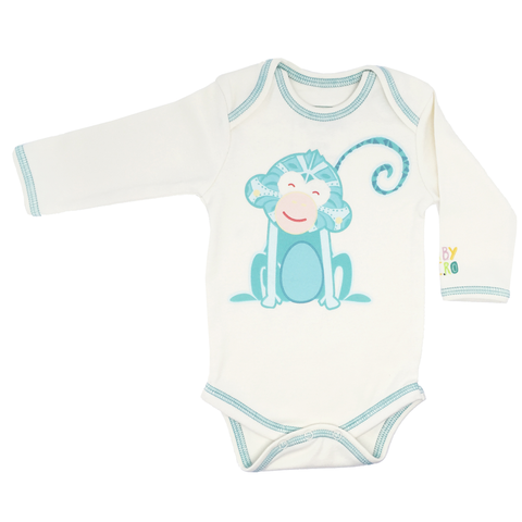 Year of the Monkey Turquoise Onesie- Long-Sleeve, 100% Organic Cotton - Baby Hero - 1