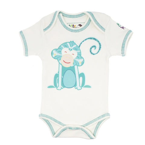 Year of the Monkey Turquoise Onesie - Short-Sleeve, 100% Organic Cotton - Baby Hero - 1