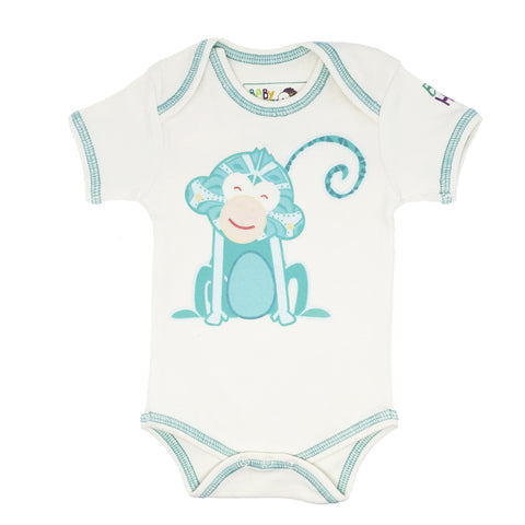 Year of the Monkey Turquoise Onesie- Long-Sleeve, 100% Organic Cotton - Baby Hero - 5