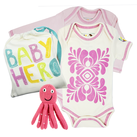 Pink Love Gift Set - Onesies + Rattle