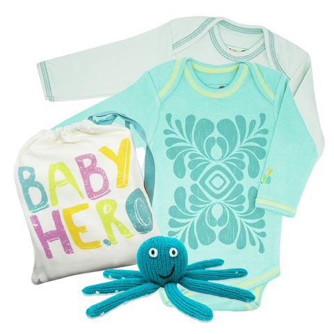 Turquoise Love Gift Set - Onesies + Rattle
