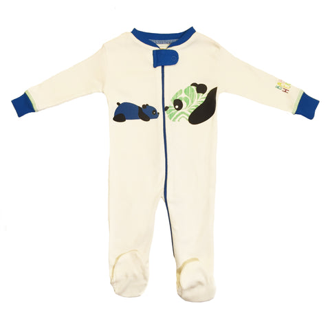 Panda Footie - Blue - 100% Organic Cotton - Baby Hero - 2