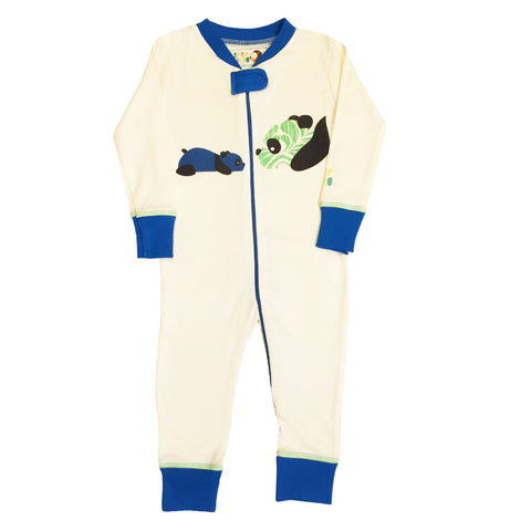 Panda Footie - Blue - 100% Organic Cotton - Baby Hero - 1