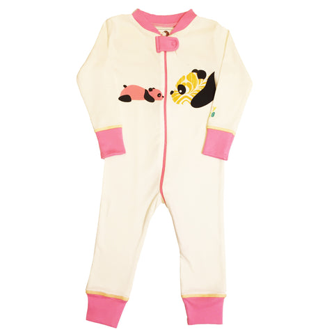 Panda Footie - Pink - 100% Organic Cotton - Baby Hero - 1