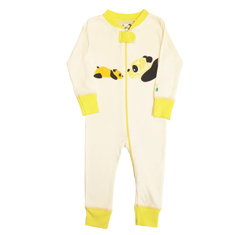Panda Footie - Yellow -100% Organic Cotton - Baby Hero - 1