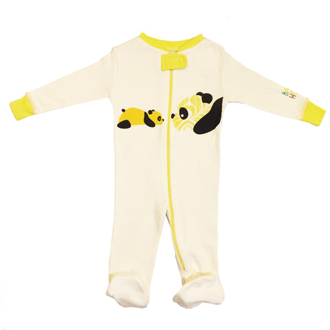 Panda Footie - Yellow -100% Organic Cotton - Baby Hero - 3