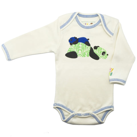 Panda Onesie - Blue - Long-Sleeve, 100% Organic Cotton - Baby Hero - 1
