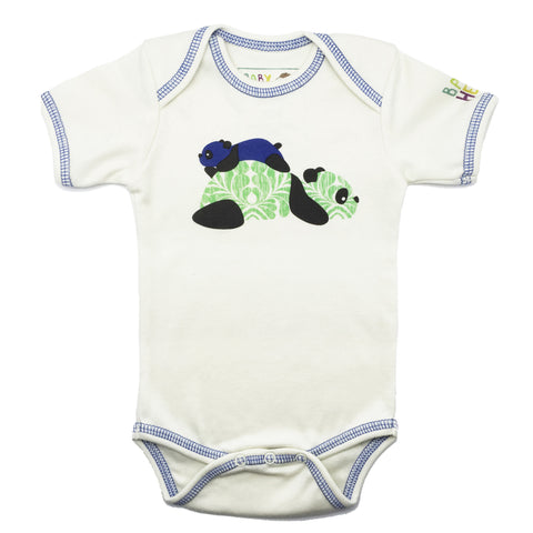 Panda Onesie - Blue - Short-Sleeve, 100% Organic Cotton - Baby Hero - 3