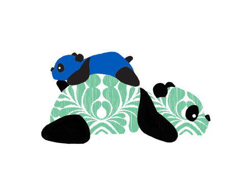 Panda Onesie - Blue - Long-Sleeve, 100% Organic Cotton - Baby Hero - 3